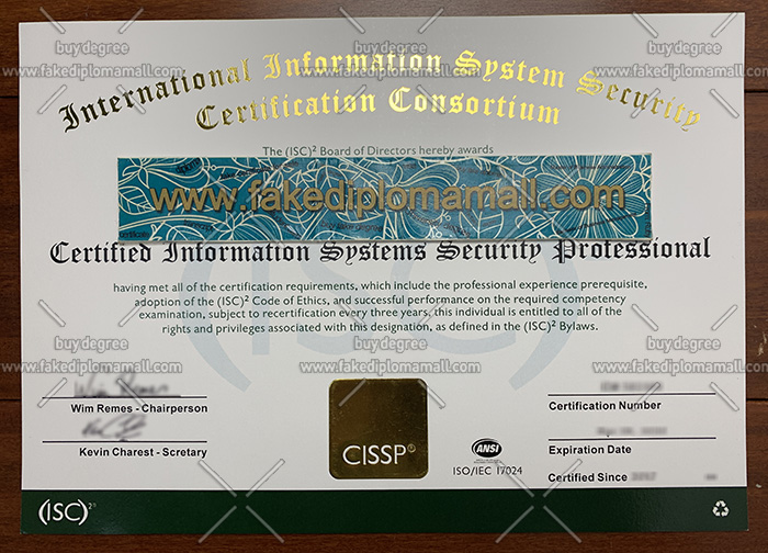 CISSP certificate, International Information System Security certificate