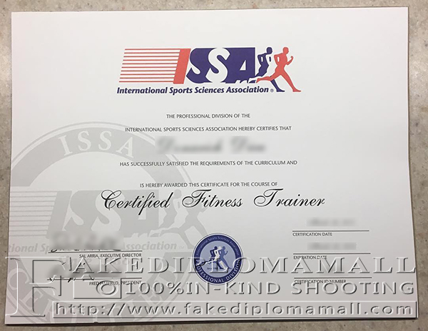 International Sports Science Association certificate, ISSA certificate, ISSA diploma