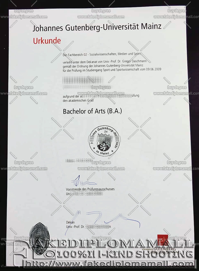 Universität Mainz fake diploma