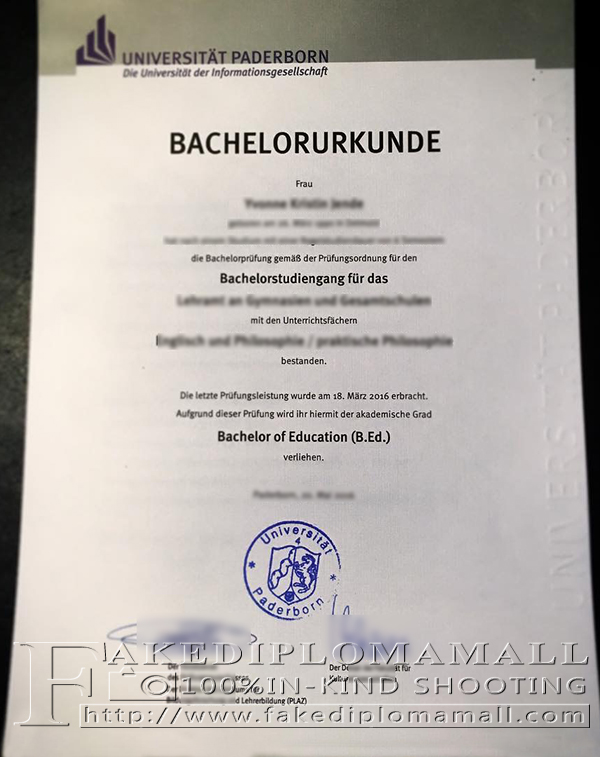 Universität Paderborn diploma, University of Paderborn degree