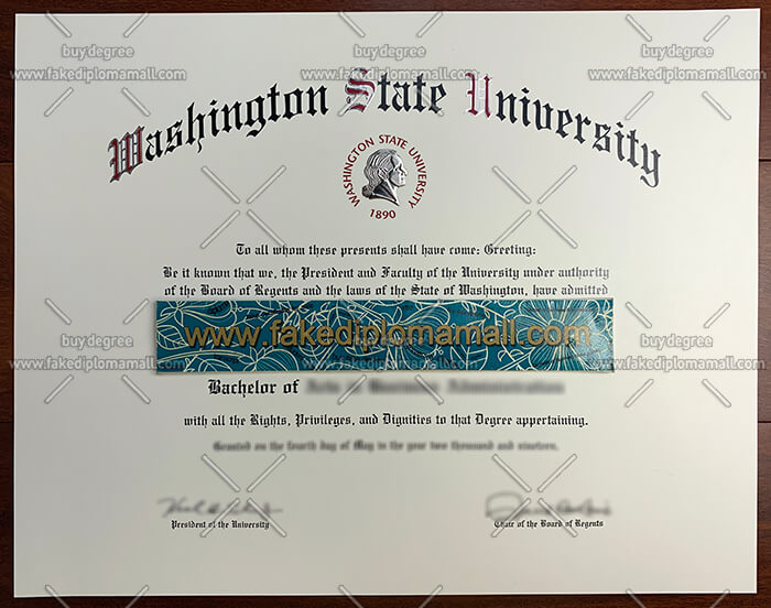 Washington State University degree certificate