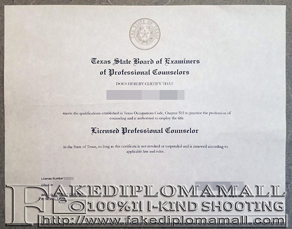 Licensed Professional Counselor Fake Certificate