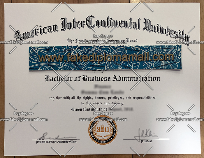 American InterContinental University degree certificate