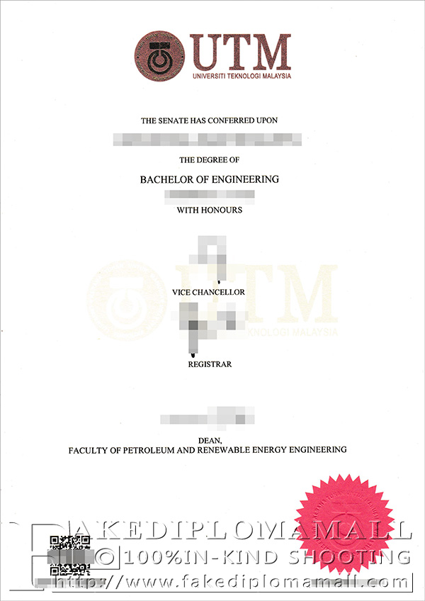 UTM degree certificate, Technological University of Malaysia diploma