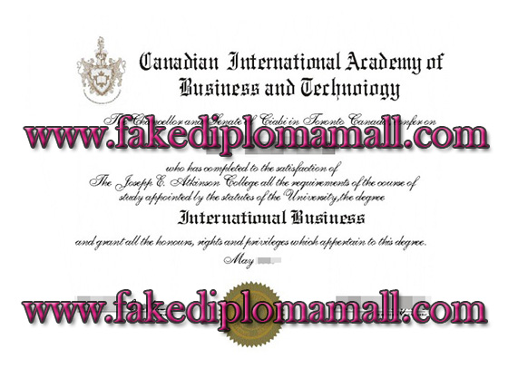 Canadian International Academy of Business & Technology diploma