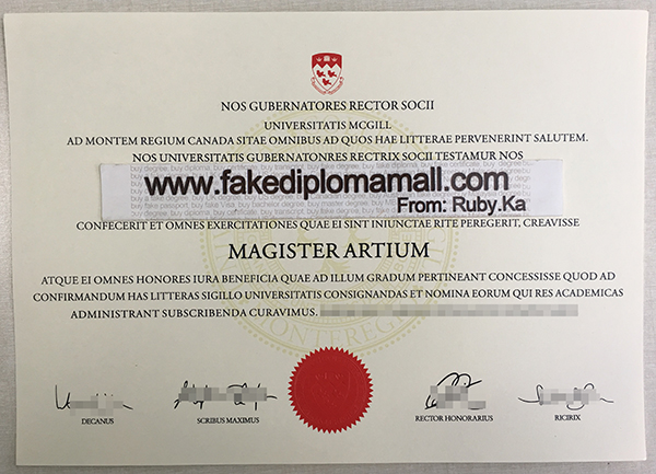 McGill University degree, McGill University diploma