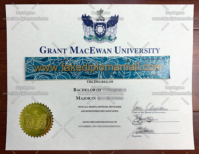 Grant MacEwan University degree certificate
