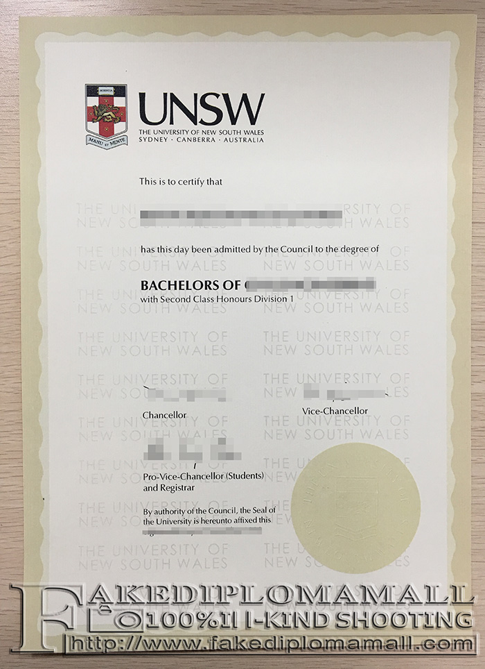 University of New South Wales degree, UNSW diploma
