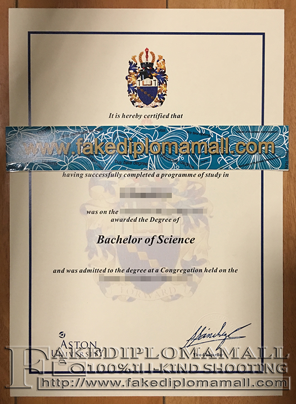 Aston University degree certificate