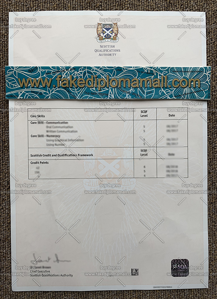 Scottish Qualifications Authority certificate